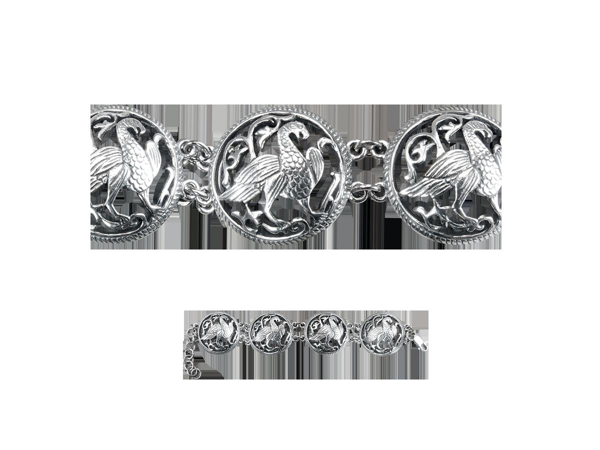 "Bracelet ""Suzdal bird"". 4 links. Silver 925"